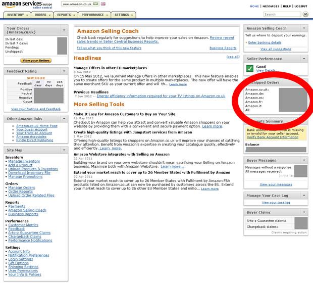 Amazon欧州の管理画面1