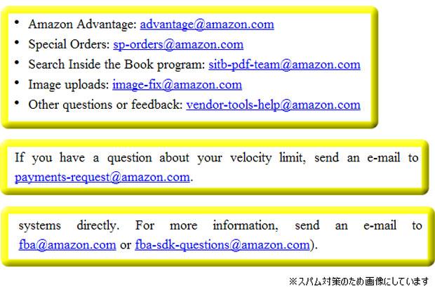 Amazon.comの各担当者に直接届くメールアドレス